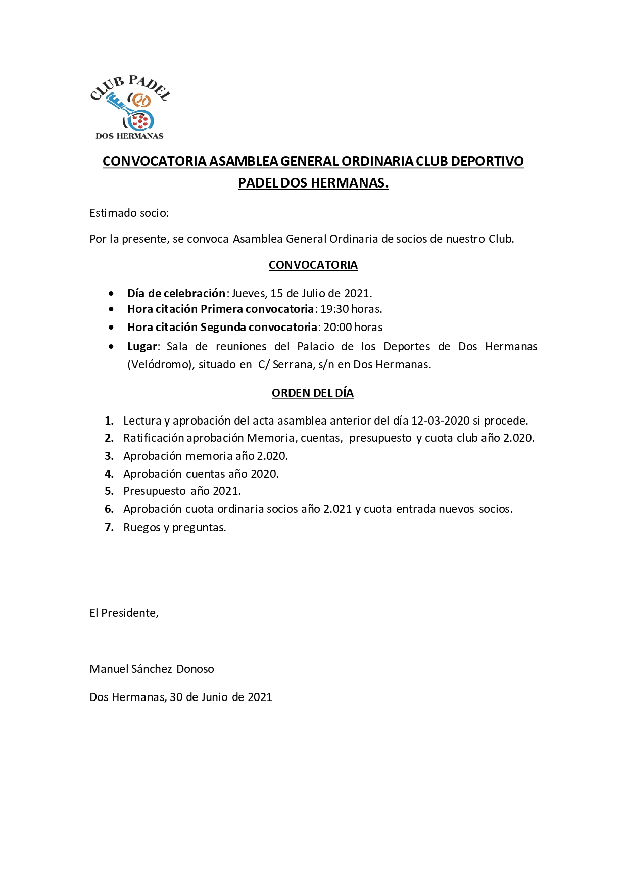 ASAMBLEA GENERAL ORDINARIA 15-07-2021